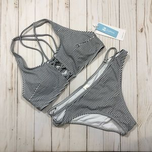 NWT Cupshe Blue & White Striped Bikini
